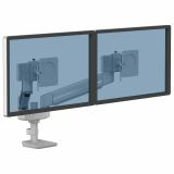 Ramię kompaktowe na 2 monitory TALLO™ (srebrne)